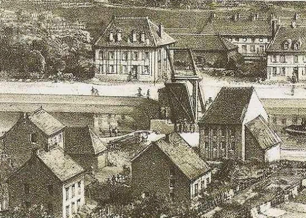 Le premier pont levant lithographie de bonhomme 1857 photo d archives dr